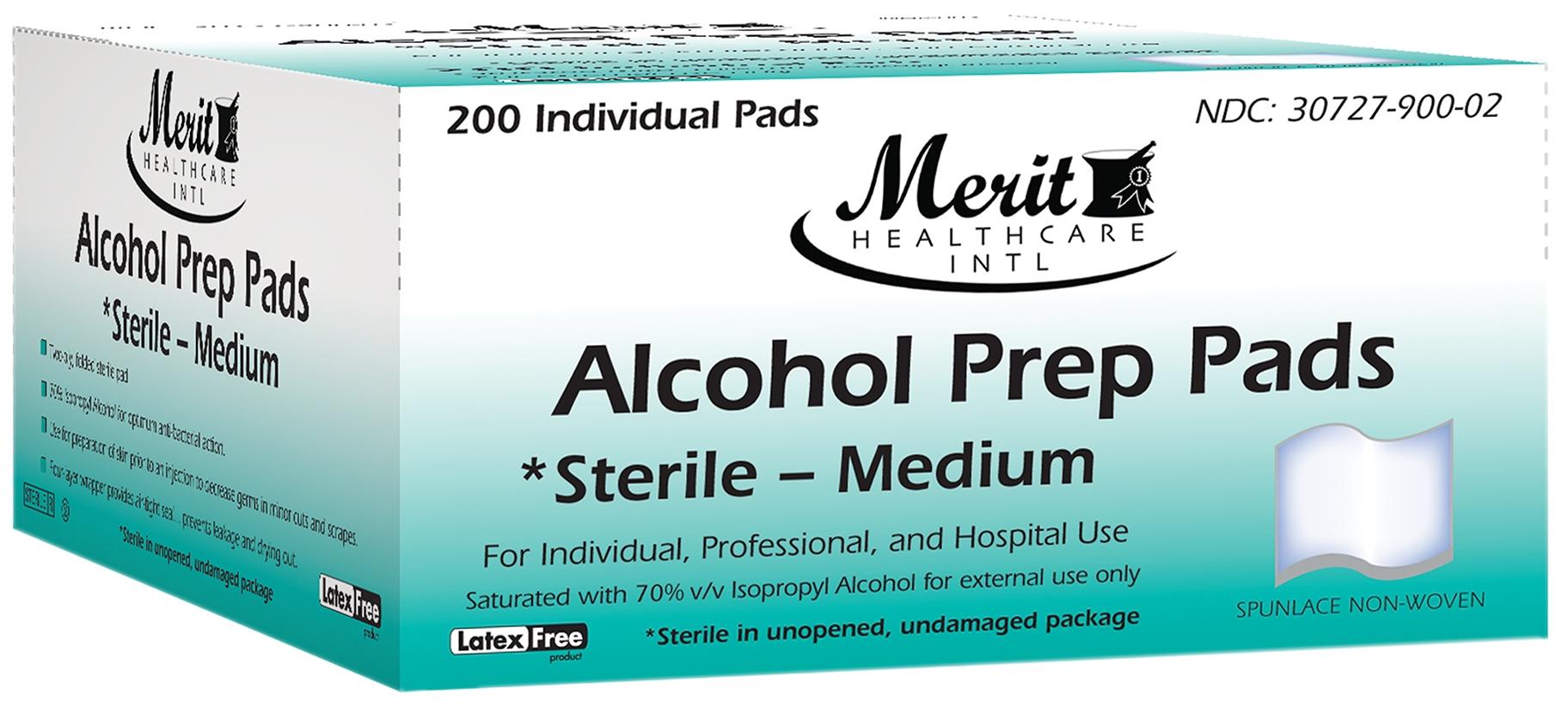 Alcohol Prep Pad, Isopropyl Alcohol, 70%, Individual Packet, Medium, Sterile, 200/BX