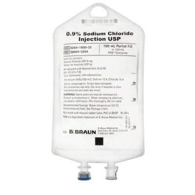 0.9% Sodium Chloride Injection USP, 100 mL Fill in 150 mL PAB® (Partial Additive Bag) * CASE/64 *  S8004-5264