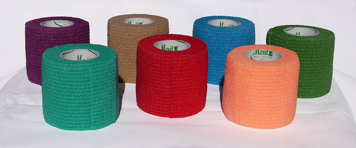 Cohesive Bandage: MERITFLEX LATEX FREE, Assorted Colors (red, orange, teal, blue, brown) 2″ x 5 Yards # CB2540