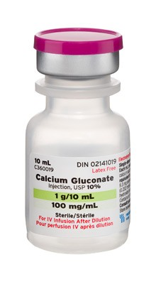 Calcium Gluconate, Preservative Free 10%, 100 mg / mL Intravenous Injection Single Dose Vial 10 mL