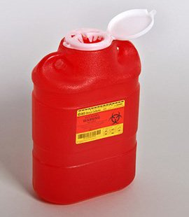 Sharps Container 5 Gallon Red Vertical Entry Lid