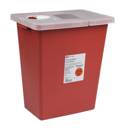 SharpSafety™ 8 Gallon Red Hinged Lid Sharps Container